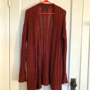 Red long cardigan.